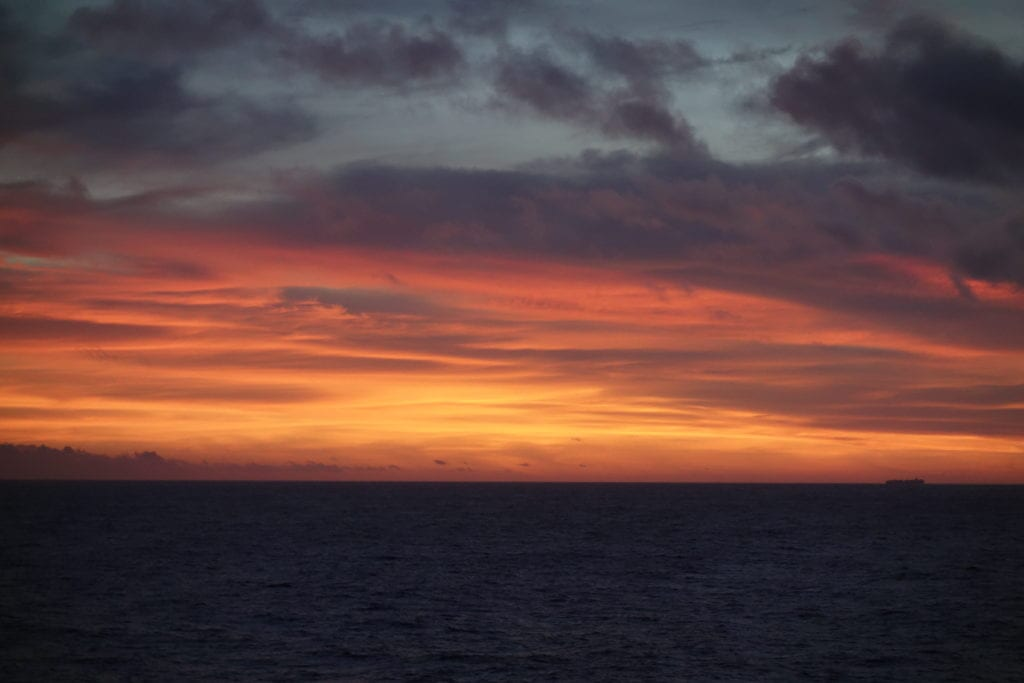 Sunsets are spectacular on the open sea