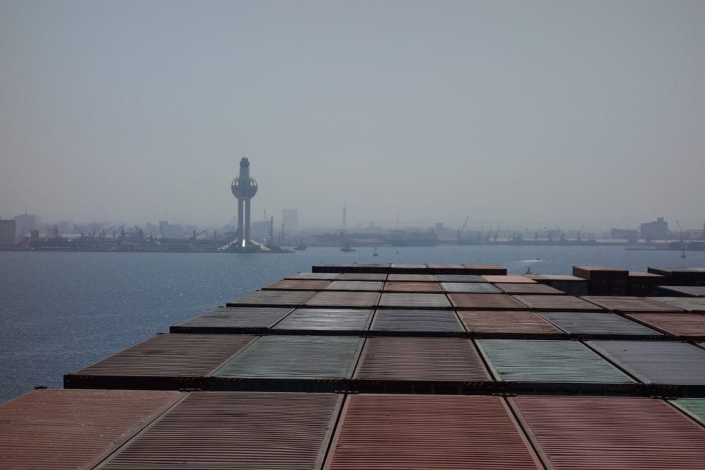 Entering the Islamic port of Jeddah, Saudi Arabia