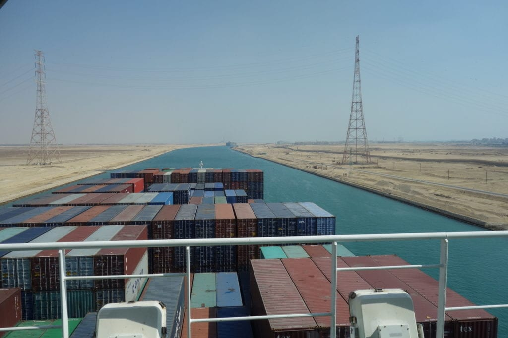 Sailing midway through the Suez Canal