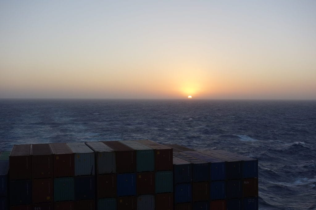 First sunset onboard after leaving Malta