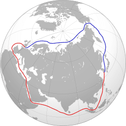 Northern Sea route mapped in blue