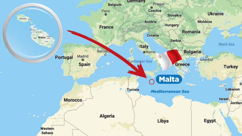 Map of Malta in the Med