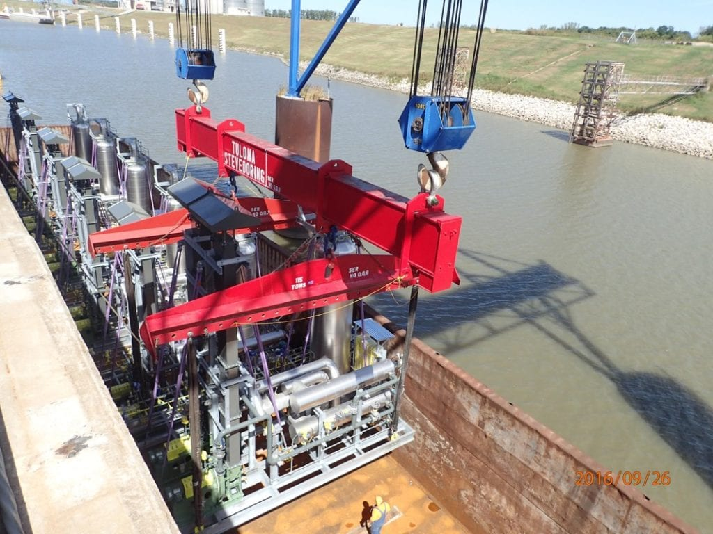 24 feet high modules from Oklahoma via barge down the Mississippi River to Baytown, TX via the Gulf
